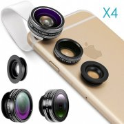 SBONY® 4 Pieces 3-in-1 Clip-on Lens Kit for Android Tablet, ipad, iphone, Samsung Galaxy and other Smartphones, Includes:(4)180 Degree Fisheye Lens+(4)2 in 1 Macro Lens&Wide Angle Lens+(4)Lens Holder