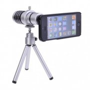 SBONY® 12X Magnifier Zoom Aluminum Tripod Camera Telephoto Lens for Apple iPhone 5 5S (Silver)
