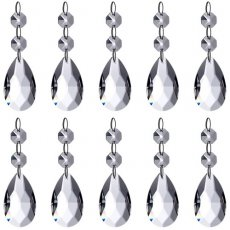 SBONY® Teardrop Chandelier Crystal Pendants Glass Beads Pendant for Wedding/Home/Office House Decoration (10-Pack)