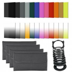SBONY 24 Pieces Square Filter Kit for Cokin P Series:(16)Full&Graduated Color Filters+(4)Full ND Filters(ND2, ND4, ND8, ND16)+(3)Graduated ND Filters(G.ND2, G.ND4, G.ND8)+(1)Sunset Filter