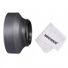 55MM Collapsible Rubber Lens Hood for Camera Lens + Microfiber Cleaning Cloth