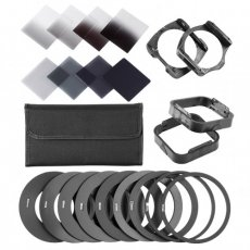 SBONY ND Filter Kit for Cokin P Series: (8)ND Filtes (Full and Graduated), (9)Metal Adapter Ring, (2)Square Filter Holder, (2)Square Lens Hood