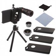 SBONY® 3 in 1 Camera Screw-on Lense kit Includes 0.67X Wide Lens, Fisheye and 8X Telescope for iPhone 4/4S/5/5S/5C