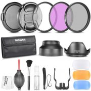 SBONY® 49MM Professional Accessory Kit for Canon EOS 450D 500D 550D 700D 1100D; Nikon Sony Fujifilm and Other DSLR Cameras - Includes: Filter Kit+Pouch+Lens Hoods+Flash Diffusers+Lens Caps+Cap Keep