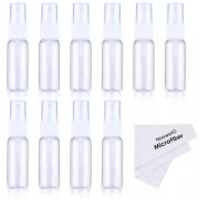 SBONY® 10-pack Empty Clear Plastic Fine Mist Spray Bottles with Microfiber Cleaning Cloth, 20ml Refillable Container Perfect for Cleaning Solutions, Oils, Air Freshener, Toner and More