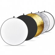 SBONY® Portable 5-in-1 22x22 Inch Translucent, Silver, Gold, White, and Black Collapsible Round Multi Disc Light Reflector for Studio or Any Photography Situation