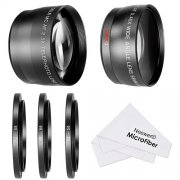 SBONY® 58MM 0.45X Wide Angle Lens and 2.5X Telephoto Lens Kit with 3 Step-up Ring Adapters (49-58mm 52-58mm 55-58mm), Front & Back Lens Covers, Microfiber Cleaning Cloth and Lens Pouches