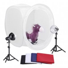 "SBONY® Photography Photo Studio 30"" Lighting Shooting Tent Kit Light Cube Diffusion Soft Box (2)Fluorescent Light Bulbs, (2)Light Stands with (2)Light Head, (1)Light Tent with (4)Backgrounds"