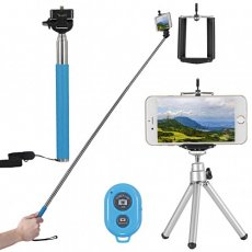 "SBONY 4-in-1 Camera Self Portrait Kit for Compact Cameras&Smartphone: 43""/110cm Extendable Selfie Stick+Adjustable Phone Holder+8""/21cm Mini Tripod+Bluetooth Wireless Remote Control(Blue)"