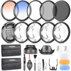 SBONY 58MM Photography Accessory Kit: Filter Set(UV+CPL+ND8)+Close-up Filter(+1/+2/+4/+10)+Graduated Color Filter+Cleaning Set+Diffuser Set+Tulip/Collapsible Lens Hood+Lens Cap+Filter Pouch