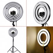 "SBONY®? 1000W Camera Photo/ Video Dimmable RingFlash Light Kit, Includes (1) 18"" Outer 14"" Inner 600W 5500K DimmableRing Fluorescent Flash Light + (1) 14"" Outer 10"" Inner 400W 5500KDimmable Ring Fluorescent Flash Light + (1) PRO 9 Feet / 260cm Heavy DutyAluminum Alloy Photography Photo Studio Light Stands+ (1) Macro Ring FlashLight Accessories Kit (US)"