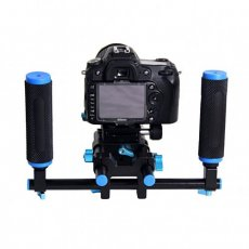 SBONY 2 Pcs Grip Handle with Rod Clamp for 15mm DSLR Camera Rod Rig Support Rail System Black & Blue