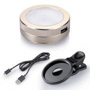 SBONY® Universal LED Fill-in Clip-on Portable Brightness-adjustable Mini Gold Round Light for Night or Darkness Selfie , Enhancing for Photography with iPhones and Android Smart Phones or Tablets.