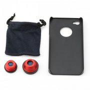 SBONY® 3 in 1 Camera Lens Kit (Fish Eye Lens, Wide Angle + Micro Lens) for Apple iPhone 4 4S(Red 3 in 1 Lens Kit for 4s)