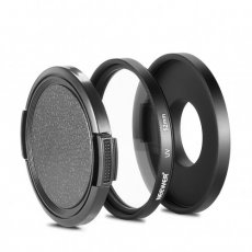 SBONY® 52mm Black Metal Glass UV Lens Filter Set with Filter Adapter and Protecting Cap for Gopro Hero 3 3+ 4