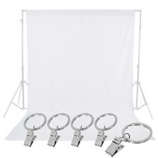 SBONY® Photo Studio 6 x 9FT / 1.8 x 2.8M Pure Muslin Collapsible Backdrop with 5-Pack Spring Clamps for Photography, Video and Television(White)