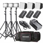 SBONY 3 x LED-204 Video Light Continuous Lighting Panel Kit with Large Deluxe Bag for Canon, Nikon, Sony, Pentax, Samsung, Olympus and Other Digital SLR Cameras