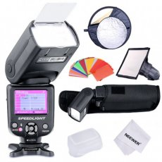 "SBONY® COLOR-SCREEN i-TTL Camera Flash Kit for Nikon D3S D50 D60 D70 D70S D80 D80S D200 D300 D300S D700 D3000 D3100 D5000 D5100 D7000 and All Other Nikon DSLR Cameras, includes (1)NW985N i-TTL Flash+(1)6x8""/20x15cm Dome Softbox +(1)22""/60cm 5-in-1 Round Reflector +(1)35-piece Color Gel Filters+(1)Deluxe Flash Case+(1)Microfiber Cleaning Cloth"
