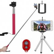 "SBONY 4-in-1 Camera Self Portrait Kit for Compact Cameras&Smartphone: 43""/110cm Extendable Selfie Stick+Adjustable Phone Holder+8""/21cm Mini Tripod+Bluetooth Wireless Remote Control(Pink)"