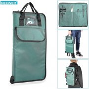 SBONY® Cyan Padded Nylon Drumstick Bag with Extra Pocket, Carry Handles and Adjustable Backpack Straps