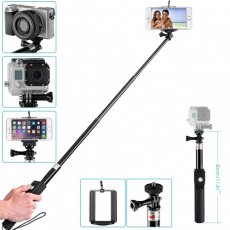 "SBONY® 39""/ 100cm Bluetooth Wireless Remote Shutter Release Telescopic Selfie Handheld Monopod with Adjustable Phone Holder for iPhone 6 Plus/6/5/5C/5S, Samsung Galaxy Note 4/3/2, S6/5/4, Blackberry, HTC Smartphones; Monopod for GoPro HD Hero 4 3+ 3 2, SJ4000 SJ5000 Series Sports Camera, Sony HDR-AS15 HDR-AS30V HDR-AS100V Action Cam, Canon Nikon Sony and All Other Cameras"