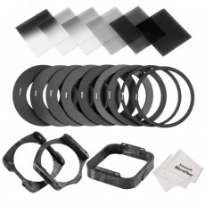 SBONY ND Filter Set for Cokin P Series: (6)Full and Graduated Filters, (9)Adapter Rings, (2)Filter Holder, (1)Lens Hood, (2)Cleaning Cloth, (1)Pouch