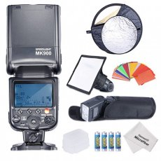 "SBONY® MK900 i-TTL LCD Display Speedlite Master/Slave Flash Kit for Nikon D3S D50 D60 D70 D70S D80 D80S D200 D300 D300S D700 D3000 D3100 D5000 D5100 D7000 and All Other Nikon DSLR Cameras-Includes(1)MK900 Flash +(1)6x8""/20x15cm Dome Softbox + (1)22""/60cm 5-in-1 Round Reflector+(1)Hard Flash Diffuser+(1)Soft Flash Diffuser+(1)35-piece Color Gel Filters+(2)LR-6 Battery +(1)Microfiber Cleaning Cloth"