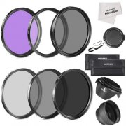 SBONY? 77MM Must Have Lens Filter Accessory Kit for Canon 24-105MM, 10-22MM, 17-40MM and Nikon 28-300, DSLR Zoom Lenses- Includes: 77MM Filter Kit (UV, CPL, FLD) + ND Neutral Density Filter Set (ND2, ND4, ND8) + Carrying Pouch + Collapsible Lens Hood + Tulip Lens Hood + Snap-On Front Lens Cap + Cap Keeper Leash + Microfiber Cleaning Cloth