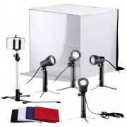 "SBONY Table Top Photography Studio Tent Lighting Kit:(1)24x24""/60x60cm Light Folding Tent+(4)Colored Internal Backgrounds+(4)Accent Light Studio Portable Lamps+(1)Adjustable 17""/43cm Tripod"