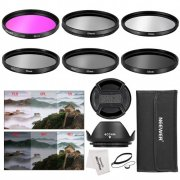 SBONY® 52MM Camera Lens Filter Accessory Kit: 52MM Filters(UV/CPL/FLD/ND2/ND4/ND8) + Tulip Lens Hood + Center Pinch Lens Cap + Cap Keeper Leash + Filter Pouch + Microfiber Cleaning Cloth