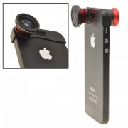 SBONY® Red 180 Fish Eye Lens+Wide Angle Lens+Macro Lens 3-in-1 Kit for Apple iPhone 5, iPhone 5s